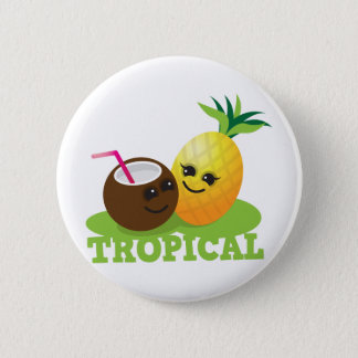TROPICAL cute Kawaii Coconut and pineapple Button