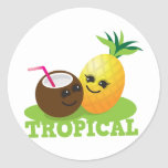 TROPICAL cute Kawaii Coconut and pineapple Classic Round Sticker
