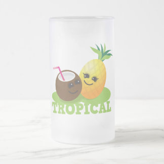 TROPICAL cute Kawaii Coconut and pineapple Frosted Glass Beer Mug