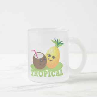 TROPICAL cute Kawaii Coconut and pineapple Frosted Glass Coffee Mug