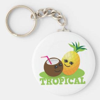 TROPICAL cute Kawaii Coconut and pineapple Keychain