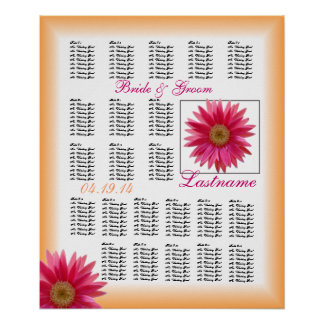 Tropical Daisy Seating Chart 22 Poster