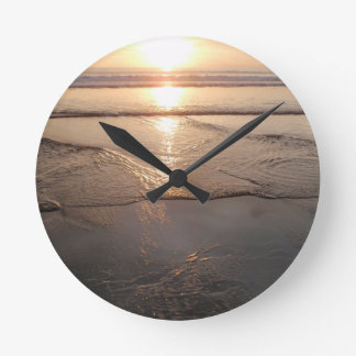 Tropical dark Beach sunset Round Clock