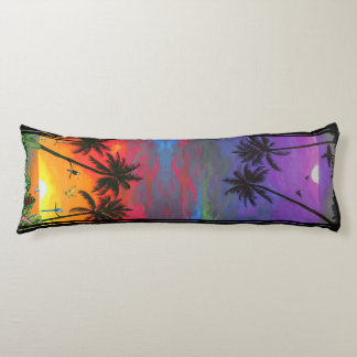 Tropical Day and Night Theme Pillow