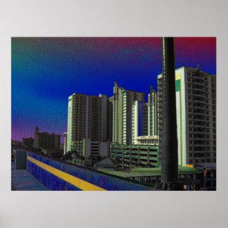 Tropical Daytona Beach Florida Beachside Resorts Poster