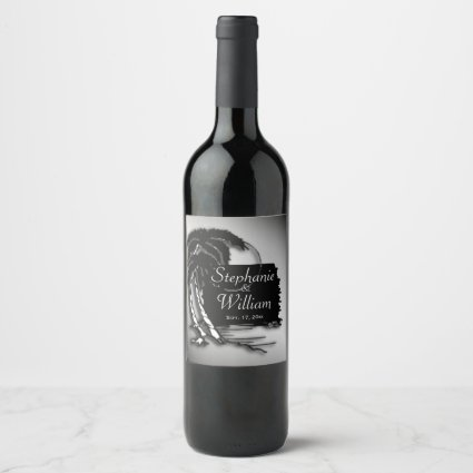 Tropical Design Names and Date Wine Label