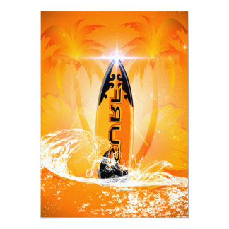 "Tropical design, surfboard with palm 5"" x 7"" invitation card"