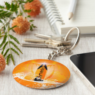 Tropical design, surfboard with palm keychain