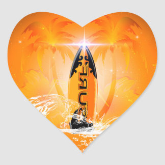 Tropical design, surfboard with palm heart sticker