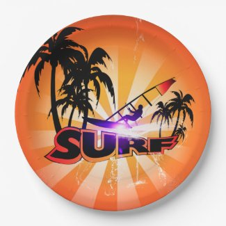 Tropical design, surfboarder with palm 9 inch paper plate
