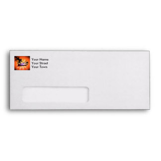 Tropical design, surfboarder with palm envelopes