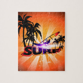 Tropical design, surfboarder with palm jigsaw puzzle