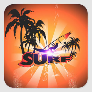 Tropical design, surfboarder with palm square sticker