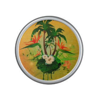 Tropical design with flowers and palm trees bluetooth speaker