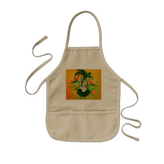 Tropical design with flowers and palm trees kids' apron