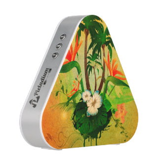 Tropical design with flowers and palm trees speaker