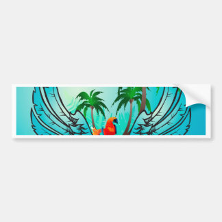 Tropical design with parrot and flowers car bumper sticker