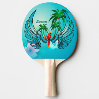 Tropical design with parrot and flowers ping pong paddle