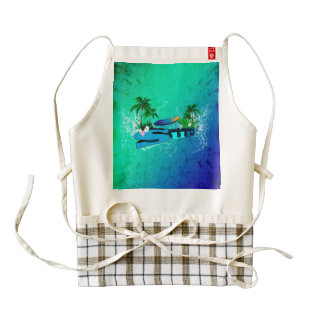 Tropical design with surfboard and palm trees zazzle HEART apron