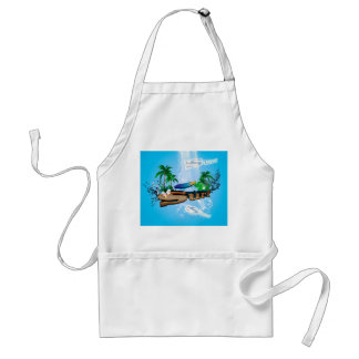 Tropical design with surfboard, palm and flowers adult apron