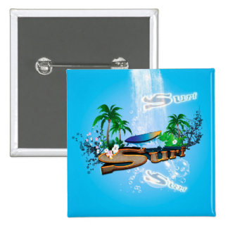 Tropical design with surfboard, palm and flowers button