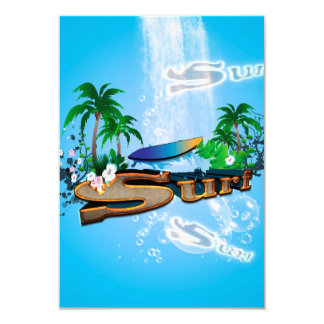 Tropical design with surfboard, palm and flowers card
