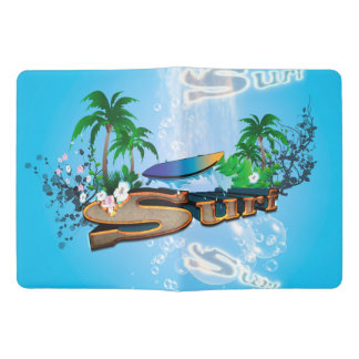 Tropical design with surfboard, palm and flowers extra large moleskine notebook