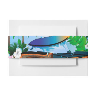Tropical design with surfboard, palm and flowers invitation belly band