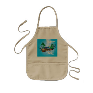 Tropical design with surfboard, palm and flowers kids' apron