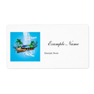Tropical design with surfboard, palm and flowers label