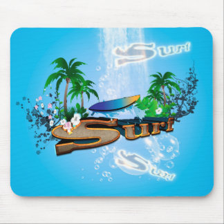 Tropical design with surfboard, palm and flowers mouse pad