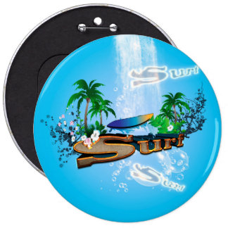 Tropical design with surfboard, palm and flowers pinback button