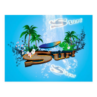 Tropical design with surfboard, palm and flowers postcard