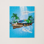Tropical design with surfboard, palm and flowers puzzle
