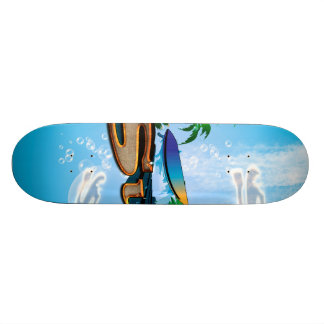 Tropical design with surfboard, palm and flowers skateboard deck