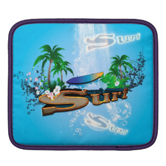 Tropical design with surfboard, palm and flowers sleeve for iPads