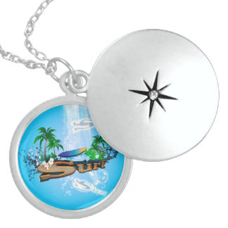 Tropical design with surfboard, palm and flowers sterling silver necklace