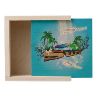 Tropical design with surfboard, palm and flowers wooden keepsake box