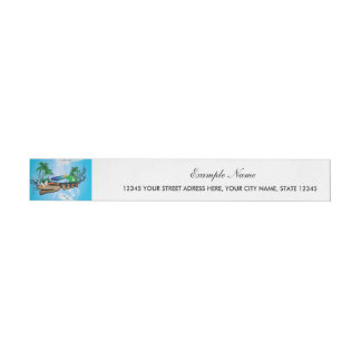 Tropical design with surfboard, palm and flowers wrap around address label