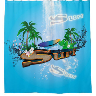 tropical design with surfboard shower curtain