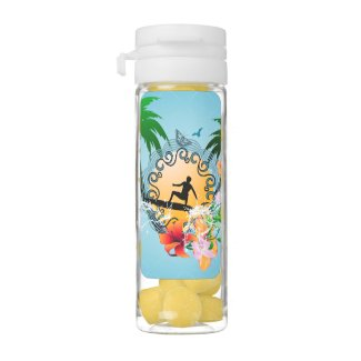 Tropical design with surfboarder chewing gum favors
