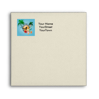 Tropical design with surfboarder envelope