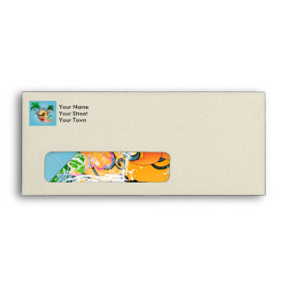 Tropical design with surfboarder envelopes