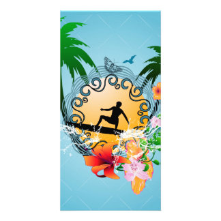 Tropical design with surfboarder photo card