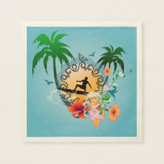 Tropical design with surfboarder standard cocktail napkin