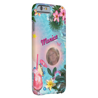 Tropical Design with your Name & Photo Barely There iPhone 6 Case