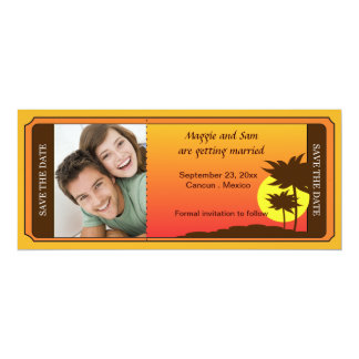 Tropical Destination Photo Wedding Save the Date 4x9.25 Paper Invitation Card