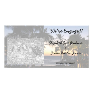 Tropical Destination We re Engaged Photo Cards