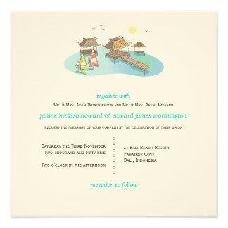 Tropical Destination Wedding Beach Windsurfing Card