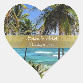 Tropical Destination Wedding Love Heart Sticker